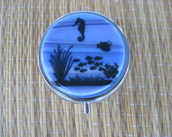 Fused Glass Seahorse and Fish Metal Pill Box Case Holder