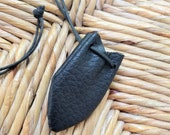 Reserved for Aubrie - Vegan Medicine Bag, Crystal, Keepsakes, Talisman Pouch or Hippie Necklace in Black