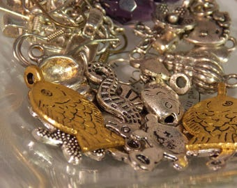 Antique Gold and Silver Charm Assortment~Gold and Silver Charms~Lot of Antique Silver Charms~Charm Lot