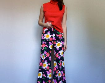 High Waisted Pants 70s Bell Bottoms 70s Floral Pants Vintage Hippie Pants Boho Bell Bottoms Wide Leg Pants - Small S