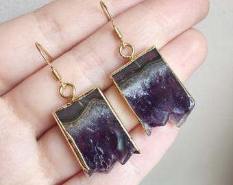 Gold Amethyst Slice Earrings - Natural Raw Rough Points Plated Purple Quartz Point Unique Chunky