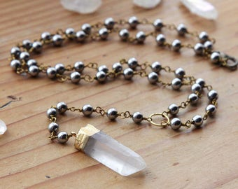 Gold Dipped Quartz Crystal Rosary Necklace - Raw Hematite Crystals Natural Clear Cloudy Rough White Point Gemstone with Beaded Black Chain