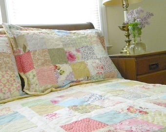 Quilts, Shabby Chic, Cottage Chic Patchwork Quilt Queen Size 92X92 all cotton blanket, Quiltsy Handmade, English charm bedding