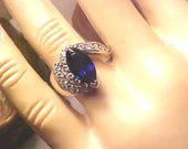 Vintage STERLING Ring Princess Diana Sapphire Blue Color &Good Box Sz 7 Bargain /BEAUTIFUL