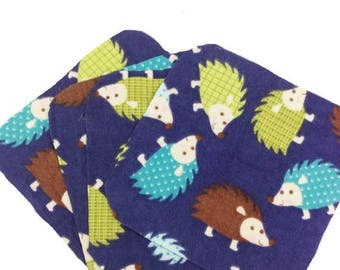 On Sale Hedgehogs Flannel - Set of 4 wipes - flannel and OBV - SOFT - 8x8 size