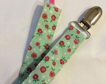 On Sale Mint Flowers Paci Binky Clip
