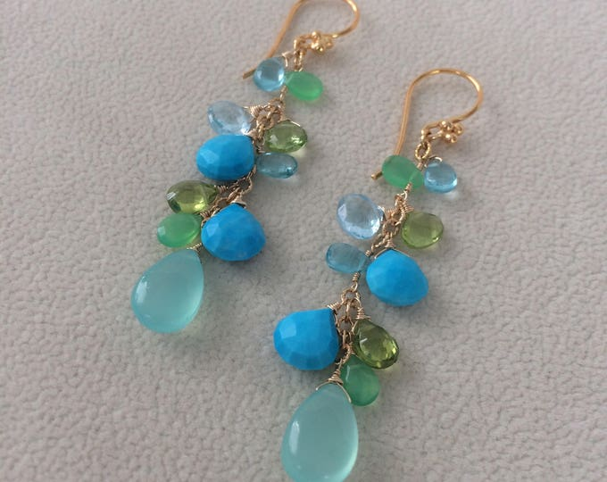 Semiprecious Gemstone Earrings in Gold and Aqua Chalcedony, Turquoise, Peridot, Chrysoprase, Apatite, Blue Topaz