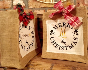 Burlap Hessian Jute Christmas Personalised Screen Printed Grocery Style Gift Bag with Bow