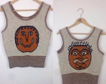 Vintage 70s Weird Faces Knit Sweater Tank Top Sabra Happy Monster Cartoon Comic Hippie Grunge Abstract Psychedelic Avant Garde