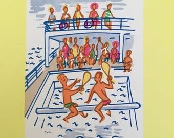 1961 Cruise Ship Menu:  S.S. Oronsay, Beautiful Cover Art!  Aquatic Sports, by Dorrit Dekk