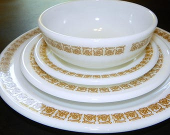 Pyrex Restaurant-ware, Tiburon 16 Pc Set FOUR of each Dinner, Bread n Butter, Salad and Bowls