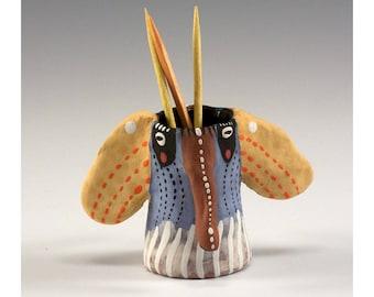 Anne - Elephant Trunked Ceramic Toothpick Holding Bud Vase by Jenny Mendes