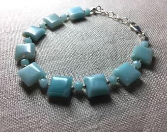 Amazonite Bracelet in Sterling Silver