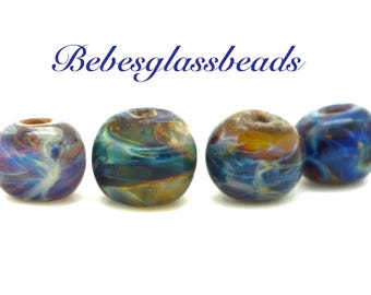 Lampwork Boro Beads Set of 4 Handmade Boro Borosilicate Glass Beads BebesGlassBeads Swirly Blues