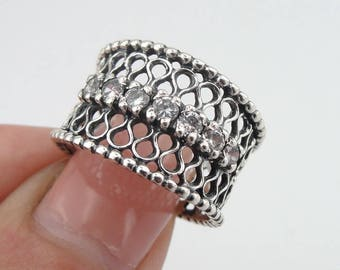 925 Sterling Silver filigree band, Silver sparkling CZ ring, White CZ  925 silver Ring, Wedding band, size 6.5, Ready to ship