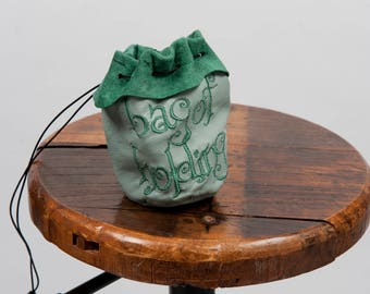 Large leather dice bag rpg gamer bag of holding embroidery larp pouch tabletop dungeons dragons geek nerd gift phone accessory green sca