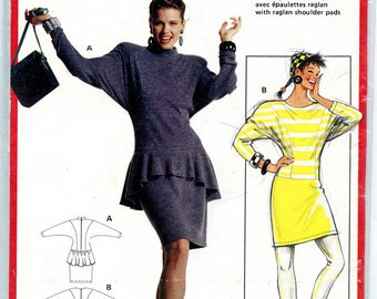 Vintage Burda 5587 Peplum Dress with Dolman Long Sleeves UNCUT Sewing Pattern from the 80s Sizes 8,10,12,14,16 Bust