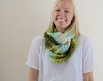 Blue and Green Ombre Infinity Scarf