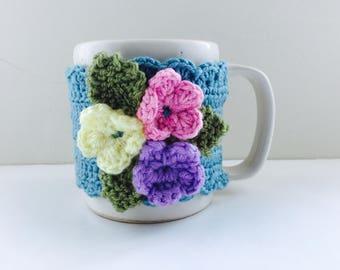 Floral Cup Cosy, Cup Sleeve, Mug Cosy, Cup Cozy, Mug Sleeve, Mug Warmer - in Pure Merino wool
