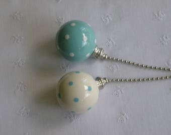Turquoise & White Polka Dots - Set of 2 - Pottery Ball Ceiling Fan Pulls - Handmade in the USA - Nickel or Brass Hardware