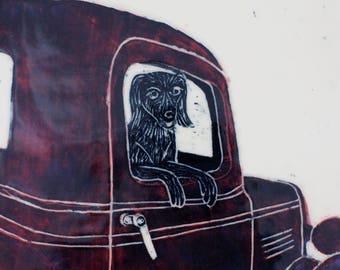 Old Truck Art, Ranch House Decor, Dog in Truck, Sgraffito Carved Art Tile,  Framed Art Tile, Wall Tile, Tile Art