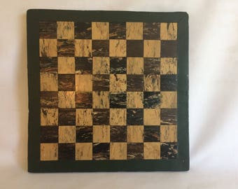 Small Vintage Handmade Wood Checkerboard