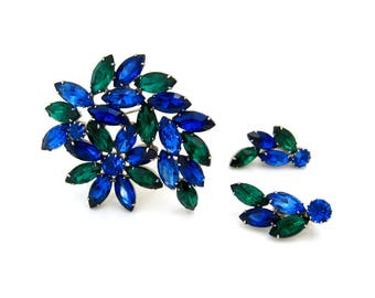 Vintage Blue Green Flower Brooch Climber Earrings Set, 60s Floral Demi Parure, 1960s Costume Jewelry