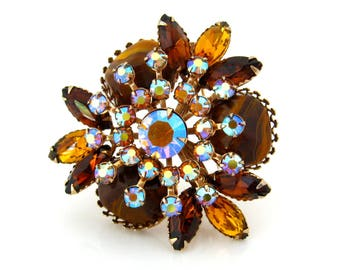 Vintage JUDY LEE Faux Tiger's Eye Rhinestone Brooch, Signed Topaz Brown Aurora Borealis Pin, 1960s Costume Jewelry