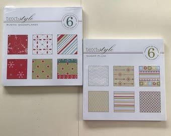 SUPPLY DESTASH - NEW - Papertrey Ink Paper Pad: Rustic Snowflakes & Background Basics - Christmas Sugar Plum
