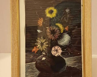Vintage Wood Block Print. Colored. Howard Duff. Beautiful Pastel Floral Bouquet with Vase. Mid-Century.