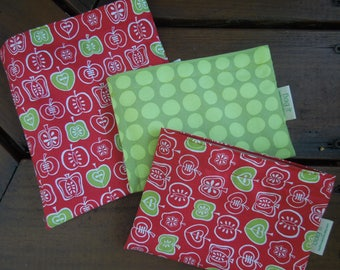 Reusable sandwich bag - Reusable snack bag - Fabric sandwich bag - Reusable bags set - Zero waste sandwich bags - Red delicious
