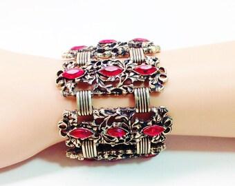 Vintage Massive Bracelet Ornate Red Marquis Rhinestone Baroque Rococo Revival Filigree Brutalist Book Chain Panel Bracelet