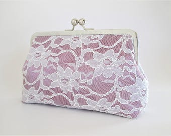 Bridal Silk And Lace Clutch,Bridal Accessories,Wedding Clutch,Bridal Clutch,Bridesmaid Clutches,Orchid Lace Clutch