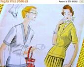 Sale:) UNCUT * 1950s  Vogue Pattern 7695   - BEAUTIFUL  Long Torso Over Blouses with Deep V Neckline   //  Bust 36 * Size 18