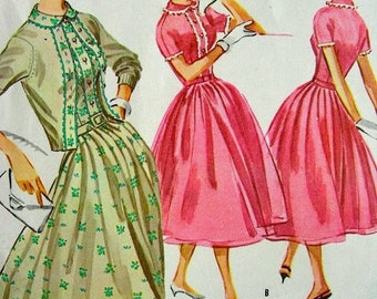 Sale:) Vintage McCall's  50's  Dress with Trim Sewing Pattern 4119 -  UNCUT - size 12/32