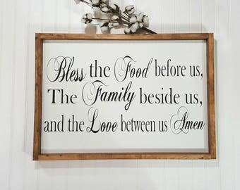 """Bless The Food Before Us The Family Beside Us And The Love Between Us Amen Framed Farmhouse Wood Sign 16"""" x 24"""" Farmhouse Decor Sign"""