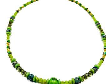 Lime Green Beaded Necklace, Green Czech Glass Necklace, Green Choker,