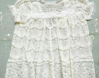 Vintage lace baby dress, white lace dress, lace dress, handmade baby dress, vintage lace, vintage satin ribbon, Little baby girls dress,