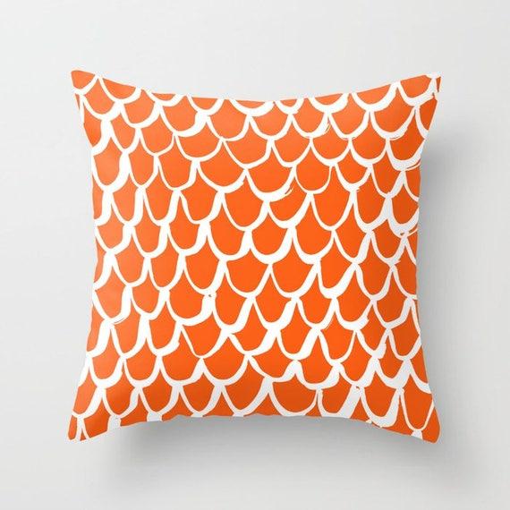 Orange Mermaid Throw Pillow . Orange and White Pillow . Tangerine Cushion . Mermaid Pillow . Pillow . Mermaid Cushion 16 18 20 24 inch