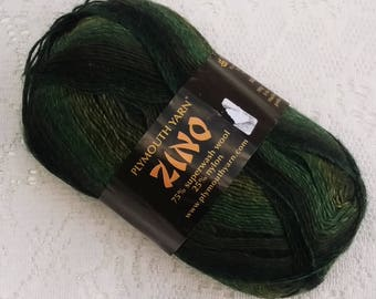 DESTASH - Plymouth Zino Sock Yarn - Gradient -  Forest Greens