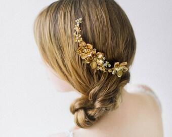 Bridal Wedding Hair Comb, Gold Bridal Headpiece, Floral Wedding headpiece, Crystal Floral hair comb, Crystal Headpiece - Style 603