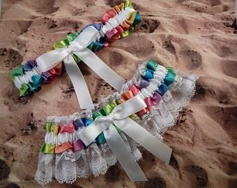 Rainbow Sunburst White Satin White Lace Wedding Bridal Garter Toss Set