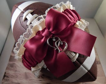 Football Toss Garter Burgundy Maroon Wine Bow Ivory Satin Double Heart Charm Wedding Accessories Football Band ( Football not included)