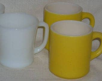 Fire King Glass D Handle Mug Cup and Two Yellow Stacking Mugs