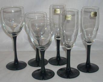 Luminarc Black Stem Champagne Flutes and Wine Glasses