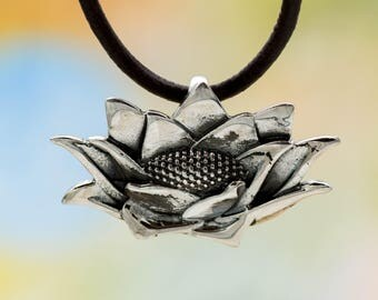 Lotus pendant etsy sterling silver lotus pendant 925 silver 1pc silver lotus 925 lotus flower audiocablefo light catalogue