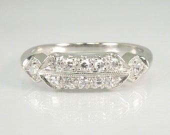 Antique Diamond Platinum Wedding Ring - Art Deco Era Styling