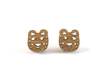 Tiger Earrings, Wood Tiger Stud Earrings, Mismatched Earrings, Tiggy Tiger, Quirky Earrings