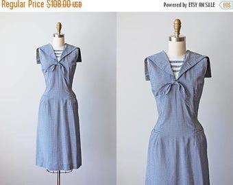 ON SALE 1950s Sailor Dress - Vintage 50s Navy Blue Gingham Cotton Blend Wiggle Dress M L - Port Heuneme Dress