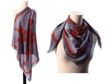 Luxury Silk Scarf 80s Vintage DESIGNER Abstract Print Rustic Grey Muffle Charles Jourdan Graphic Print Hand Rolled Large 34 in Women Gift
